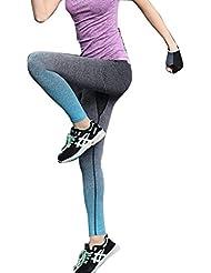 Tongshi Mujeres Running Yoga Sports Fitness Gym Stretch Pantalones Pantalones Ejercicio Leggings (Azul, M)