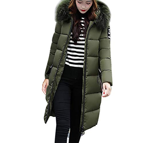 Solid Casual Thicker Winter Slim Down Lammy Jacket Coat Overcoat mid-Length Long fur Collar Thick down Jacket (L4, Armeegrün) ()
