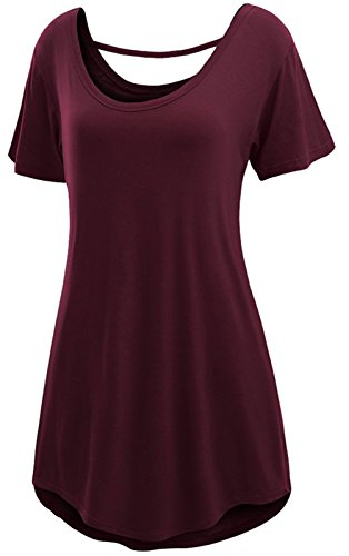 URqueen Women's Fashion Backless Comfy Tunic Casual T-Shirt Dress Red