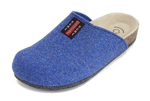 Bio Filz Pantoffel TWEED mit Fußbett & ABS-Filzsohle Gr. 36 - 47 Azur