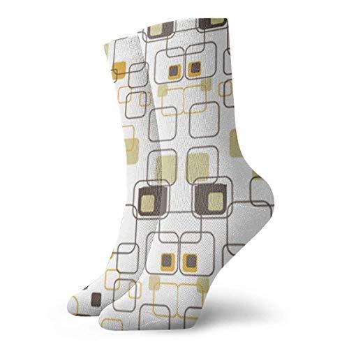 CVDGSAD Retro Squares Crew Socken Funny Novelty Thin Casual Sport Comfort Work 11.8