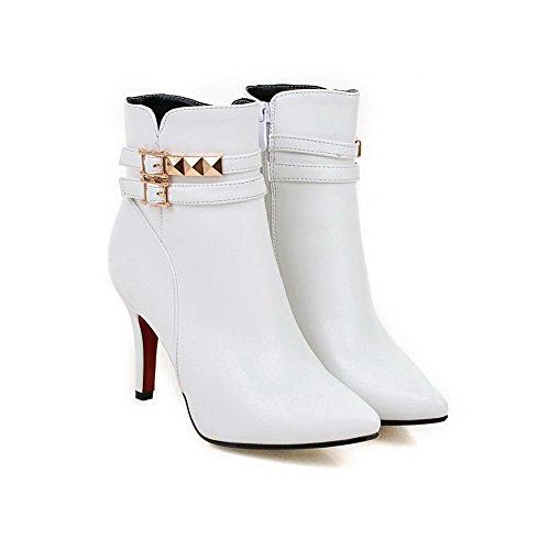 VogueZone009 Femme Stylet Couleur Unie Pointu Zip Bottes avec Rivet Blanc