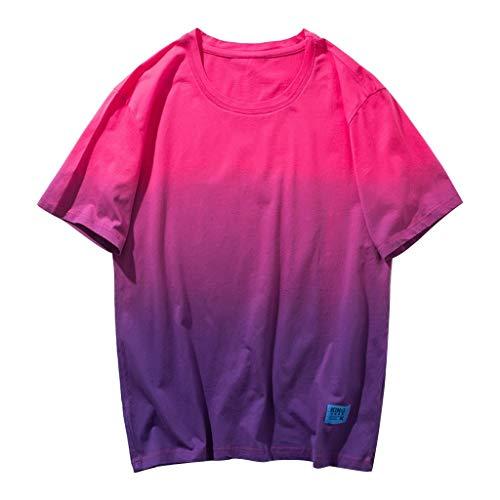DOFENG Herren Casual T Shirt, Herren Sommer T Shirt Kurzarm Shirts Steigung Tops Männer Tanks Weste Atmungsaktiv Hemden Basic O-Ausschnitt - Für Frauen Lange Fleece-roben