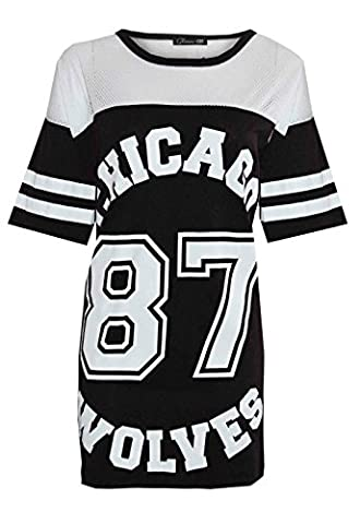 PaperMoon - 'Chicago 87' imprimé maille base-ball t-shirt top avec