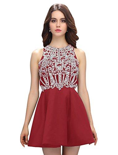 Dressystar Robe femme, Robe de soirée courte,dos nu,aux strass perles à fleur en Satin Rouge Foncé