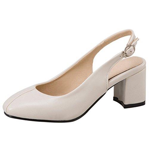 COOLCEPT Femme Mode A Enfiler sandales Talon Bloc Bout Ferme Slingback Chaussures taille Beige