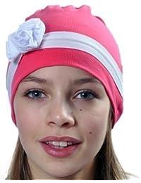 Top Baby - Bonnet en Coton Élégant avec Détail Bande et Fleur Style Années 20 pour Filles