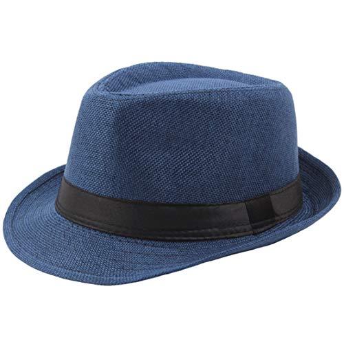 Coucoland Panama Hut Mafia Gangster Herren Fedora Trilby Bogart Hut Herren 1920s Gatsby Kostüm Accessoires (Blau)