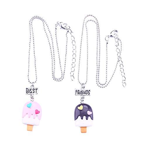 Toyvian Freundschafts Halsketten Spielzeug Eiscreme Form Halsketten Anhänger Gute Freund Geschenk Halskette 2 Stücke
