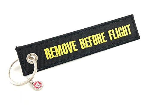 REMOVE BEFORE FLIGHT Schlüsselanhänger Schwarz/Gelb