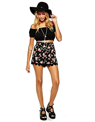 OVERMAL Les Femmes Floral Impression Taille Haute, Short Shorts Summer Occasionnel Dentelle (S)