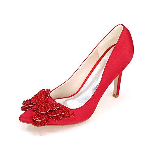 L@YC Donna Tacchi alti 0608-01D Pompa Raso Strass Chiuso Toe Medio Termine Scarpe Da Sposa abito Red