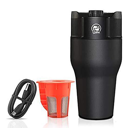 DPPAN Tragbare Kapsel kaffeemaschine servieren K-Cup Kaffeevollautomat mit USB-Netzteil,Black