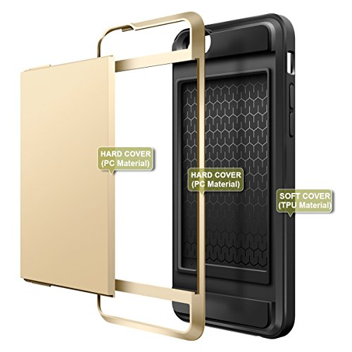 "iPhone 6S Plus Hülle, Coolden® Card Slot Holder Hülle iPhone 6 Plus / 6S Plus Wallet Case Cover Hüllen Schutzhülle Case Cover Hülle für iPhone 6 Plus / iPhone 6S Plus (5,5"") Hülle Armor (Schwarz) Gold"