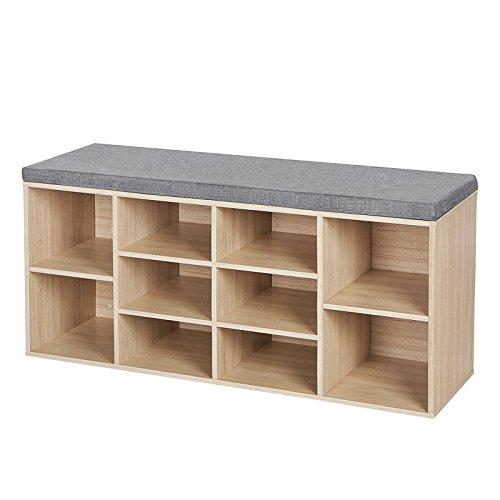 Songmics scarpiera panca in fiberboard di legno con cuscino seduta sedile imbottito con 10 vani colore naturale di legno lhs10n