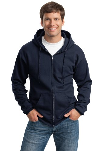 Port & Company® Tall Essential Fleece Full-Zip Hooded Sweatshirt. PC90ZHT Navy Navy Hooded Fleece-sweatshirt