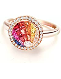 7656641dcae6 Daesar Anillo Personalizado 18K Oro Kilates Anillo Diamante Solitario Anillo  Mujer Anillo Multicolor Zafiro Rubí Piedras…