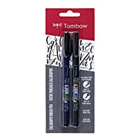 Tombow 62038 Fudenosuke Brush Pen, 2-Pack. Soft and Hard Tip Fudenosuke Brush Pens for Calligraphy and Art Drawings