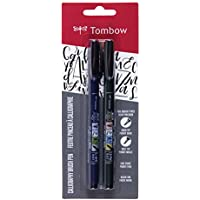 (1) - Tombow 62038 Fudenosuke Brush Pen, 2-Pack. Soft and Hard Tip Fudenosuke Brush Pens for Calligraphy and Art Drawings