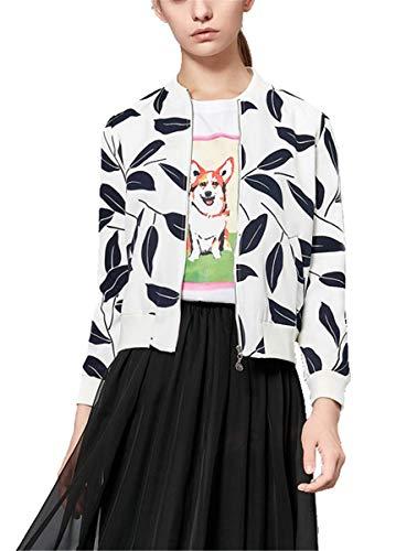 IWFREE Damen Bomberjacke Bomber Jacke Piloten Elegant Blättermuster Bedruckte Baseball Mantel Outwear Cardigan Coat Kurz Jacke mit...