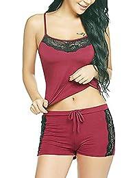 HiloRill Women, Girls Sleepwear Lace Pajamas Set Shorts Nightwear Camisole Short Sets