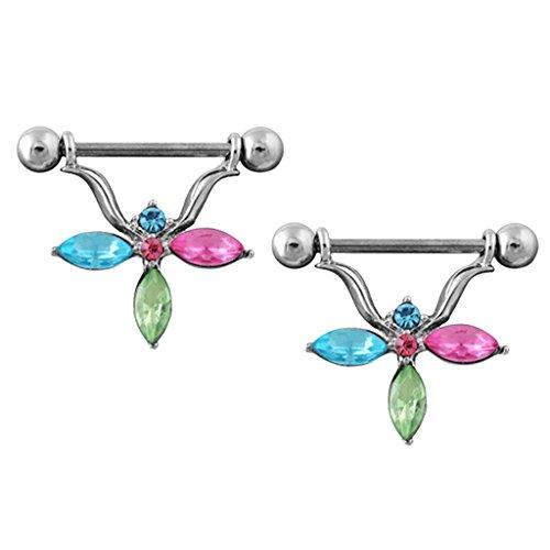 Magideal 1 coppia anello capezzolo piercing per corpo in acciaio inox stile fiore con zircone