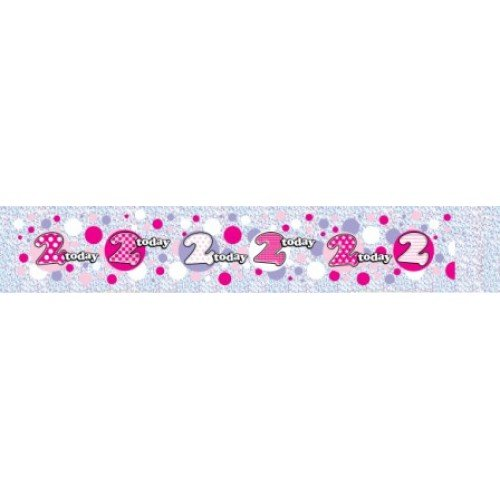 Wall Banner Happy Birthday Age 2 (Girl) -2 -