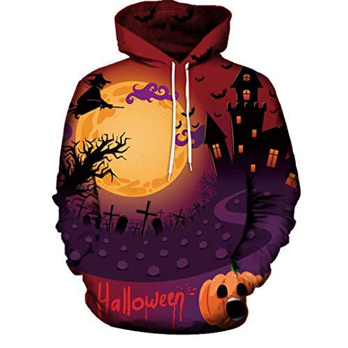 n Modus 3D Print Langarm Halloween Paare Beiläufige Hoodies Top Shirts Für Herbst Mantel Winter Orange XXL ()