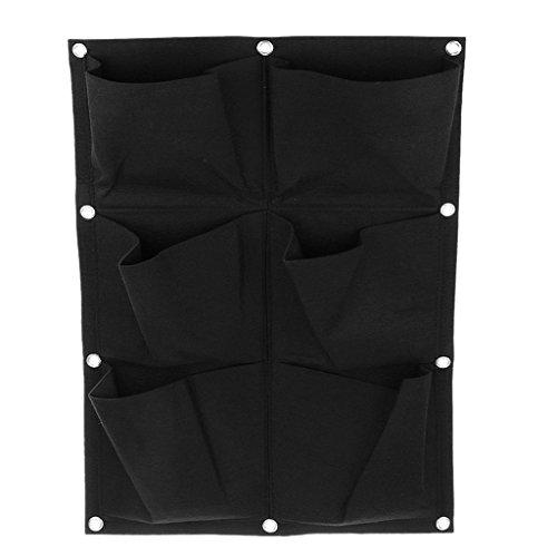 MagiDeal 6 Taschen Hängen Vertikal Gartenmauer Pflanzer Tasche Pflanz Taschen Sack Pflanzsack Pflanztasche Indoor / Outdoor-Kräutertopf