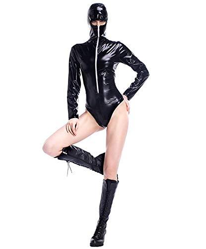 NAUQGNIQ Lackleder-Spielset Ninja Kostüm maskiert Rollenspielbekleidung Nachtclub Bar Siam Hochleistungskleidung