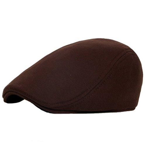 ACVIP Adulte Enfant Style Mode Chapeau Casquette Plate Flat Cap Coton,5 Couleurs Café