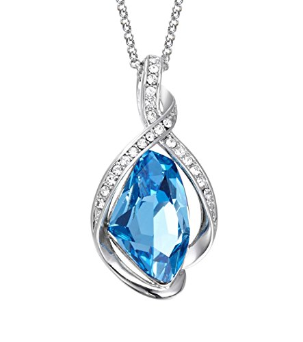 NEVI Designer Party & Daily Wear Swarovski Crystals Rhodium Plated Princess Pendant Chain Jewellery for Women & Girls (Blue & Silver)