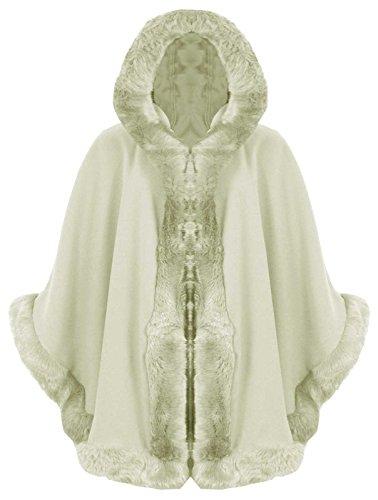 Celebrity Jewellery italien Baleza femme à capuche Fausse fourrure pour l'hiver pour cheminée Cape Puncho Coat- £ 19.65-Desire Clothing Crème