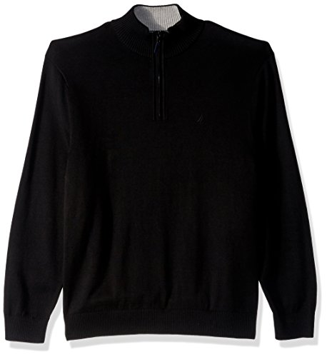 Nautica Men's Long Sleeve 1/4 Zip Solid Sweater With Suede Pull Detail, True Black, XX-Large (Nautica 1/4 Zip Pullover)