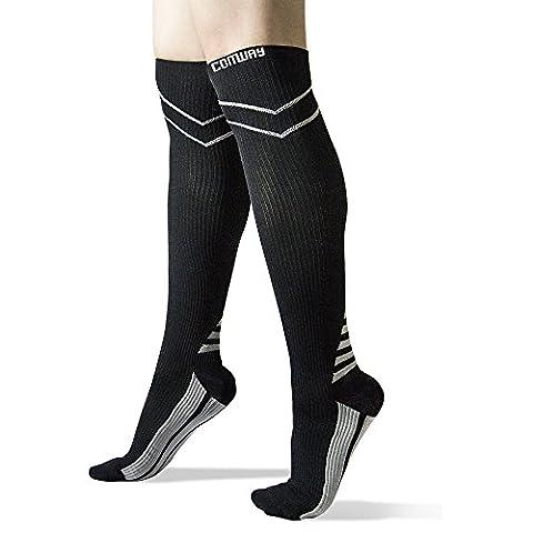 Comway Chaussettes Compression Sport Hautes Chaussettes Running Respirant Pour Récupération Rapide, Meilleure Circulation Sanguine, les Fins Médicales, Running, Cycling unisexe 1 Paire
