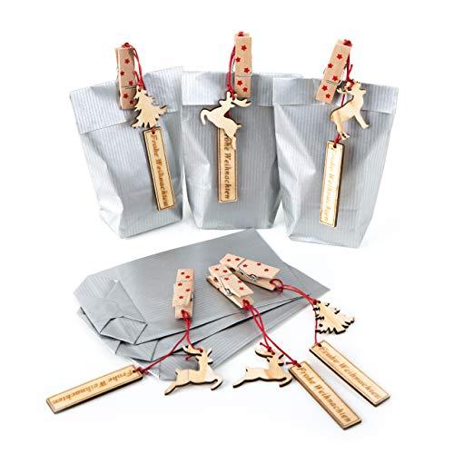 12 Mini Papiertüten Verpackung SILBER 9 x 15 x 3,5 rot + 12 Geschenkanhänger Holz FROHE WEIHNACHTEN Weihnachtsgeschenke Kunden verpacken