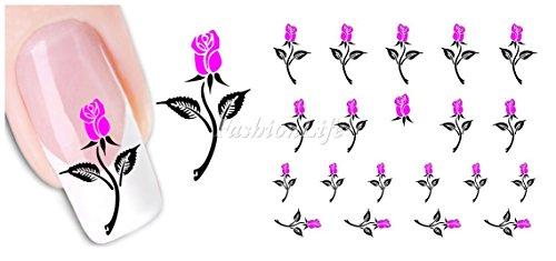 Nagel Sticker Nail Art Nass Abziehbilder mit Blumen - Blume #139 Nail Sticker Tattoo - FashionLife -