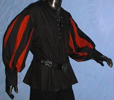 Kostüm Des Landsknechts - Hemd Mittelalter Gothic Landsknecht schwarz rot Größe XL