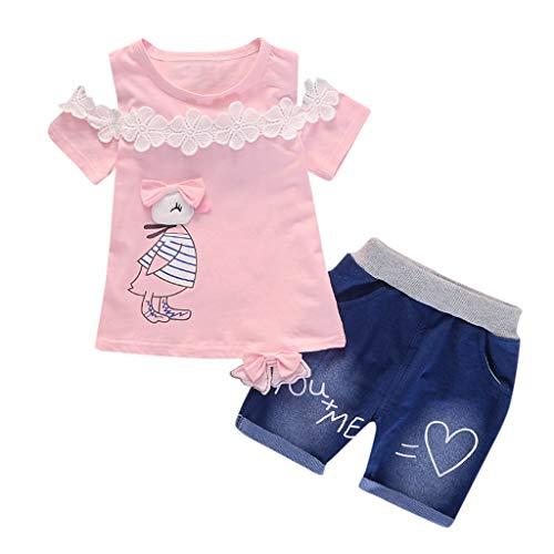 Toddler Baby Girls Short Sleeve Cartoon Print Tops+Denim Shorts Set Outfits (Baby Geschwister Kostüm)