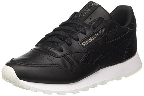 Reebok Damen Classic Leather L Gymnastikschuhe, Schwarz (Pearl- Black/White/Ice), 35 EU (Leder Athleisure)