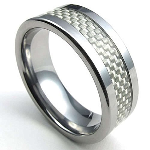 AnaZoz Acero Inoxidable Fibra de Carbono Pulido Carbide Blanco Plata 8mm Anillos de Hombres Tamaño 25 Joyería de Moda