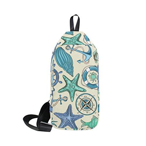 ster mit Ankern Sling Bag Schulter Brust Kreuz Körper Rucksack Leicht Casual Tagesrucksack für Männer Frauen M MultiColor#005 (Nautische Rucksack)
