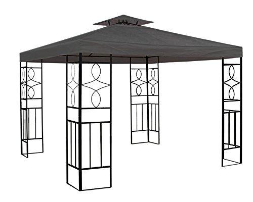 WASSERDICHTER Pavillon 3x3m Anthrazit ROMANTIKA Metall inkl. Dach Festzelt wasserfest Partyzelt
