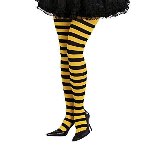 Honig Erwachsene Damen Für Kostüm Biene - NET TOYS Blickdichte Bienen-Strumpfhose | Gelb-Schwarz | Aufregendes Damen-Kostüm-Zubehör Feinstrumpfhose gestreift | Genau richtig für Fasching & Karneval