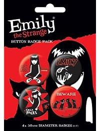 Emily The Strange - chapas - 4 x 38 mm placas