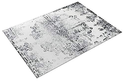 Paco Home Designer Teppich Wohnzimmer Teppiche Ornamente Vintage Optik Schwarz Weiß, Grösse:160x220 cm