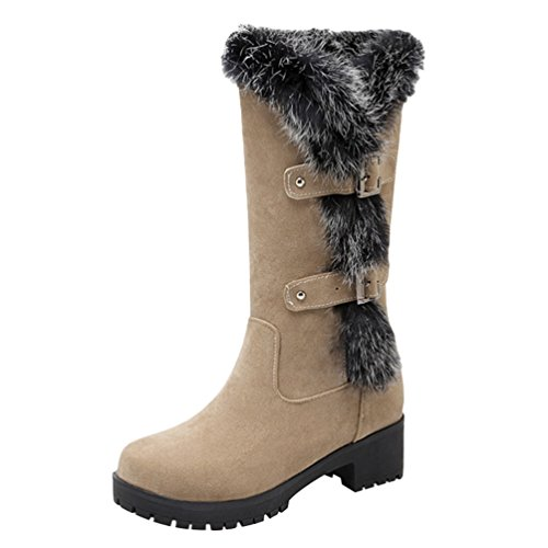 Yiiquan Donna Inverno Casual Stivali da Neve con Denso Foderato Snow Boots Stivaletti Beige