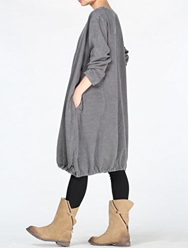 MatchLife Damen Rundhals Kleider Langarm Sweatshirts Grau Kaffee