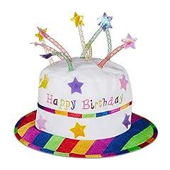 Idea Regalo - Relaxdays Unisex - Adulto Happy Birthday Cappello Torta Compleanno Cappello con Candele Cappello Party Torta di Compleanno Cappello di Peluche Party Bianco & Colorato Standard