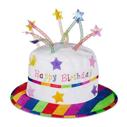 Relaxdays Unisex- Erwachsene Happy Birthday Hut Torte, Geburtstagshut mit Kerzen, Partyhut Geburtstagstorte, Plüschhut Party, weiß & bunt, bunt, Standard